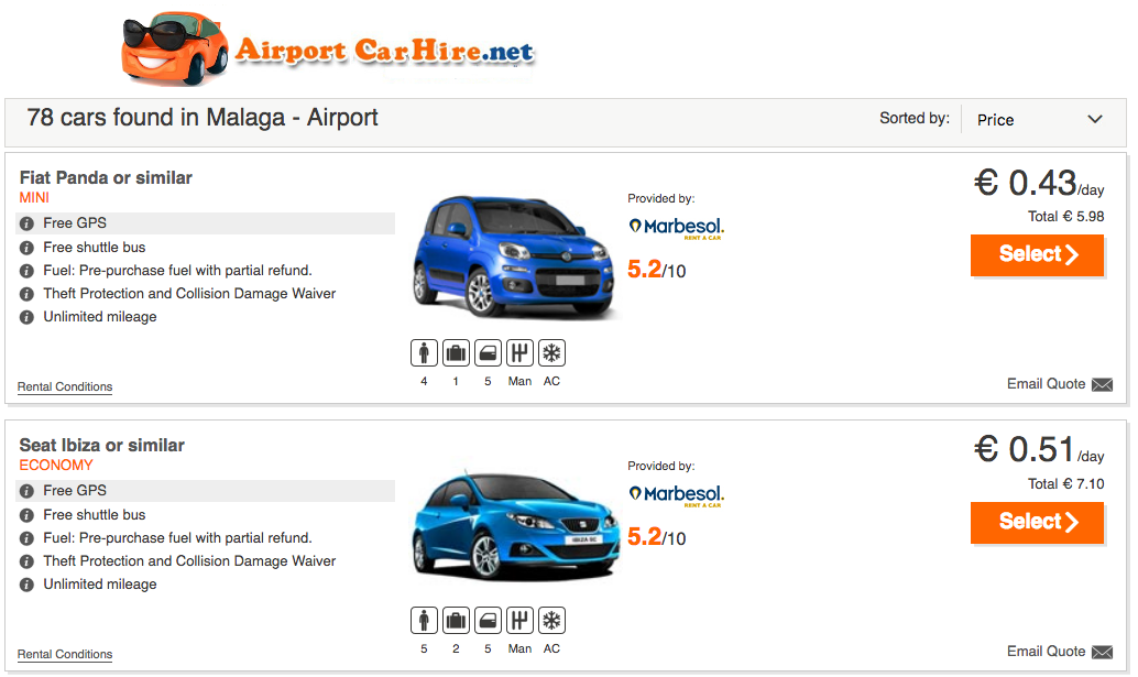 Car hire in Spain for as little as 43 cents a day